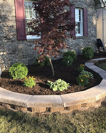 new retaining wall build and install with tree installation and new mulch